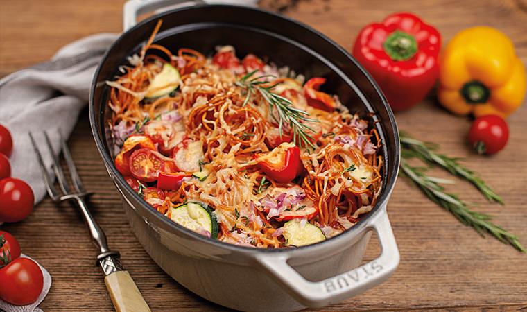 Chili-Knoblauch Spaghettiauflauf mit Gemüse & Ricotta