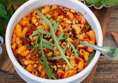 Hörnchen mit würziger Tomatensauce | Meal Prep vegan