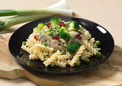 Low Carb Dralli mit Pilzrahm und Erbsen-Brokkoligemüse