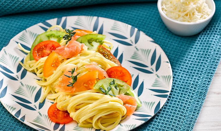 One Pot Linguine mit Tomatenraritäten und Lachs
