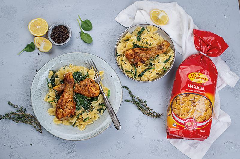 rezept-nudelpfanne-huehnchen-spinat