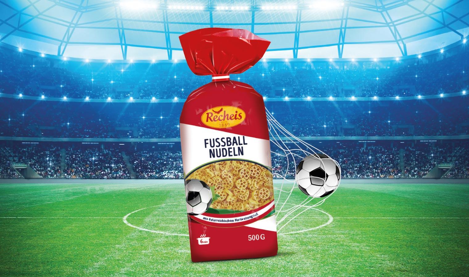 Recheis Fußballnudeln gemeinsam genießen