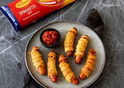 Halloweenrezept Spaghetti-Mumien | Halloween Fingerfood Idee